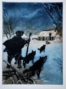 """Ilustración de Ph. Legendre-Kvater para """"Le Meneur de Loups"""""""