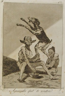 """""""Aguarda que te unten"""" de la colección Caprichos, Francisco de Goya, 1799"""