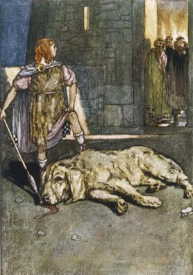 Cú Chulain da muerte al perro de Culann, Stephen Reid, 1904