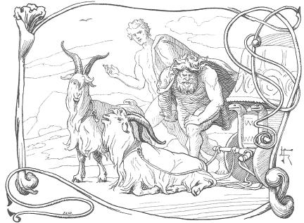 Tanngrisnir y Tanngnjóstr, Lorenz Frølich, 1895