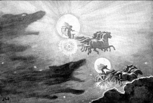 Lobos persiguiendo a Sól y Mani, J.C. Dollman, 1909