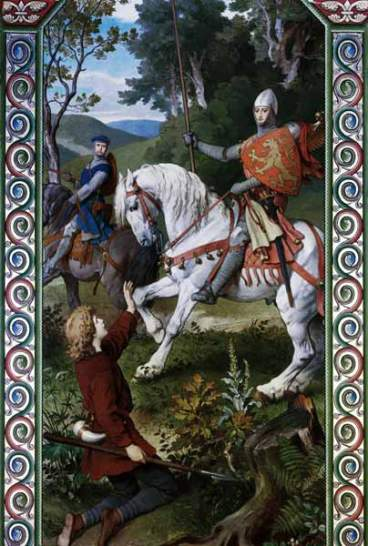 Parsifal Meets a Knight, Ferdinand Piloty or A. Spiess, Neuschwanstein Castle, Bavaria.