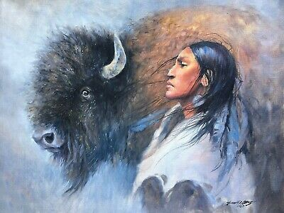 BUFFALO-INDIAN-Original-Oil-Painting-Western-art-Southwest